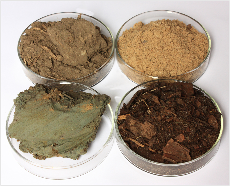 Próbki gleby dopadania